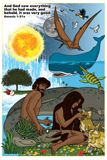 Adam and Eve with Dinosaurs Poster