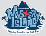 MYSTERY ISLAND VBS: BLUE IRON-ON LOGO